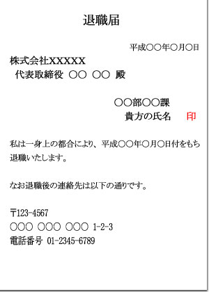 退職願いの書式(フォーマット)簡易版